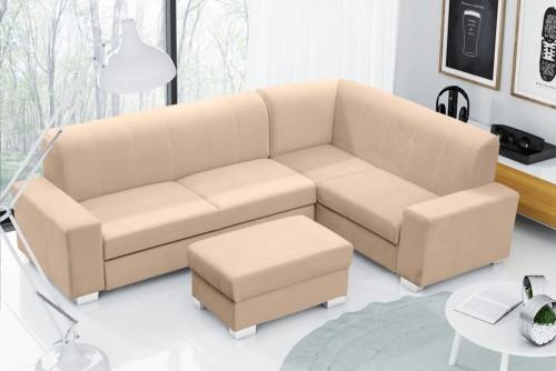 Narożna kanapa z dostawianą pufą