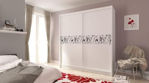 Nowoczesna szafa biała Wiki, szerokość 200 cm