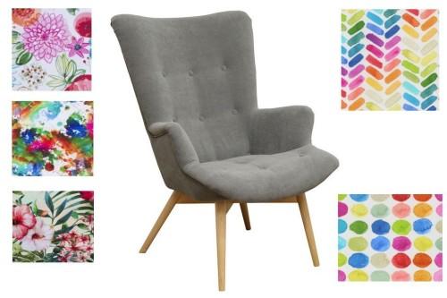 Fotel Warna tkanina w kwiaty