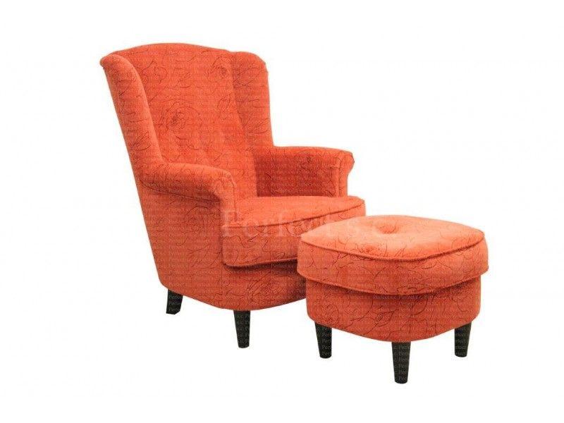 stylowy fotel z wygodną pufą