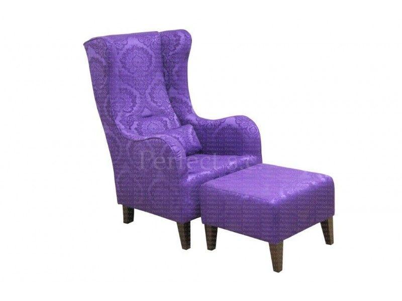 Tapicerowany fotel z pufą