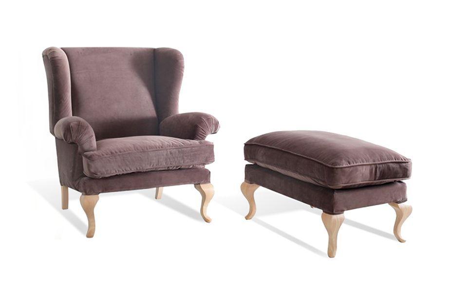 Fotel tapicerowany Charme z pufą