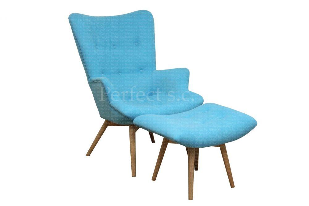 Nowoczesny fotel z pufą