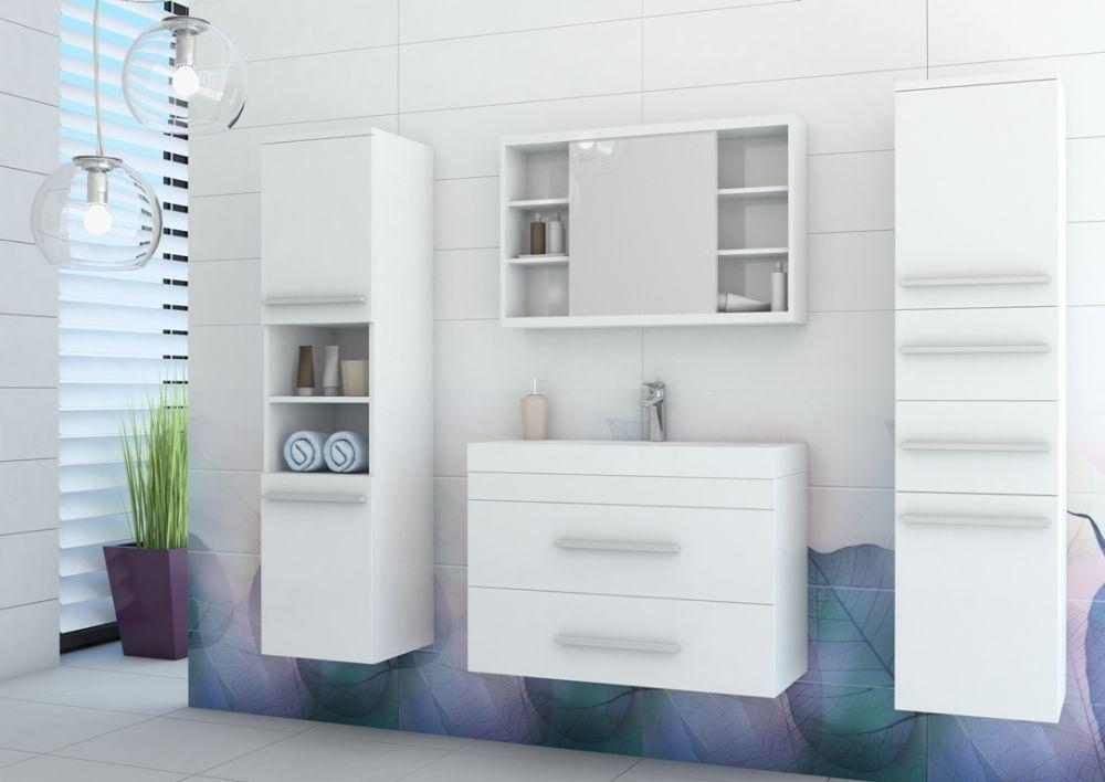 Zestaw mebli łazienkowych biały połysk