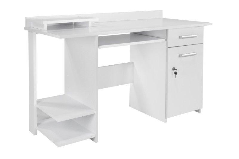 Biurko białe komputerowe z półką na klawiaturę Alfa