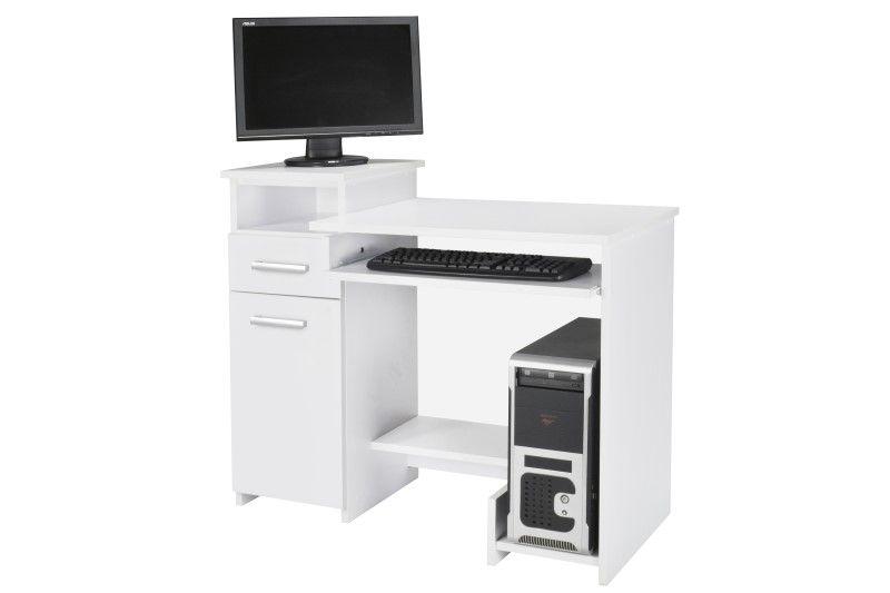 Biurko Komputerowe Z Szafką Szufladą I Półkami Bartek Białe