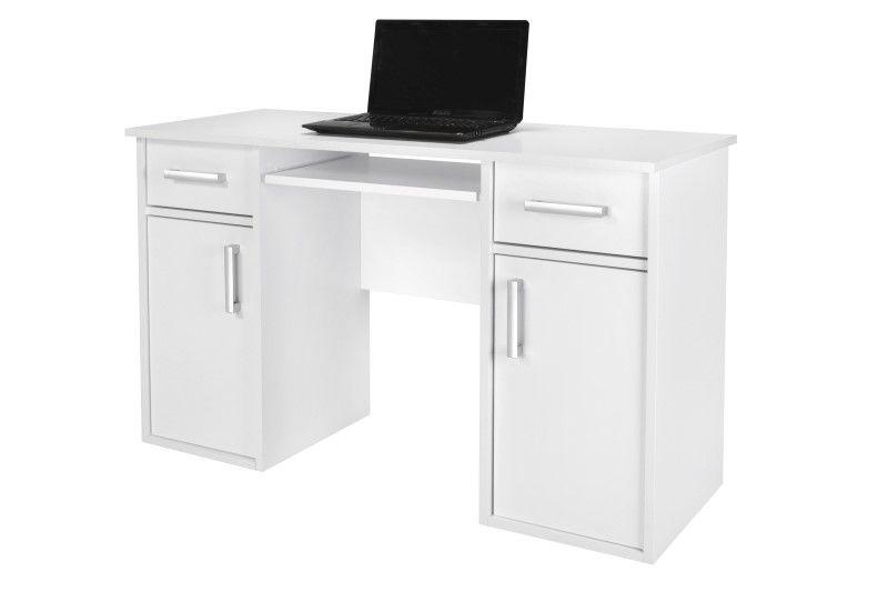 Białe biurko komputerowe z szafkami Clasic II