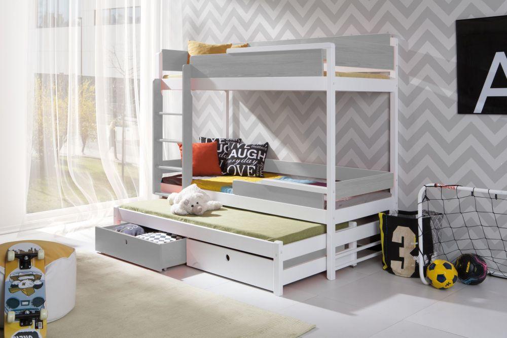 łóżko Drewniane Piętrowe Wysokie 3 Osobowe Natu Iii Plmeblepl