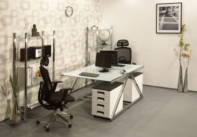 Szklane biurko białe chrom Z-Line