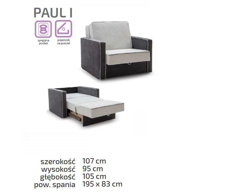 Sofa Rozkładana Tapicerowana Paul 1 Osobowa Do Przodu
