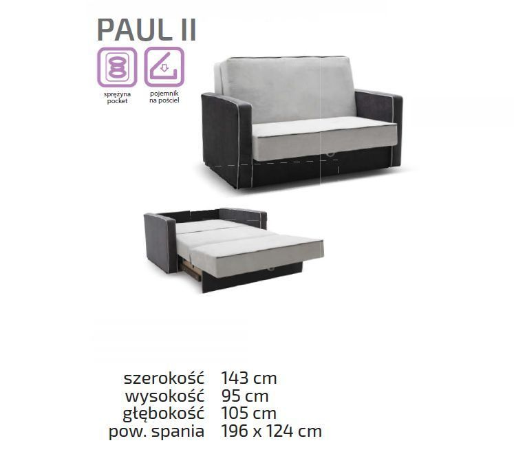 Fotel kanapa młodzieżowa 2 osobowa Paul dla chłopaka