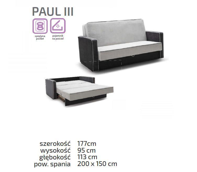 Kanapa trzyosobowa z funkcją spania Paul
