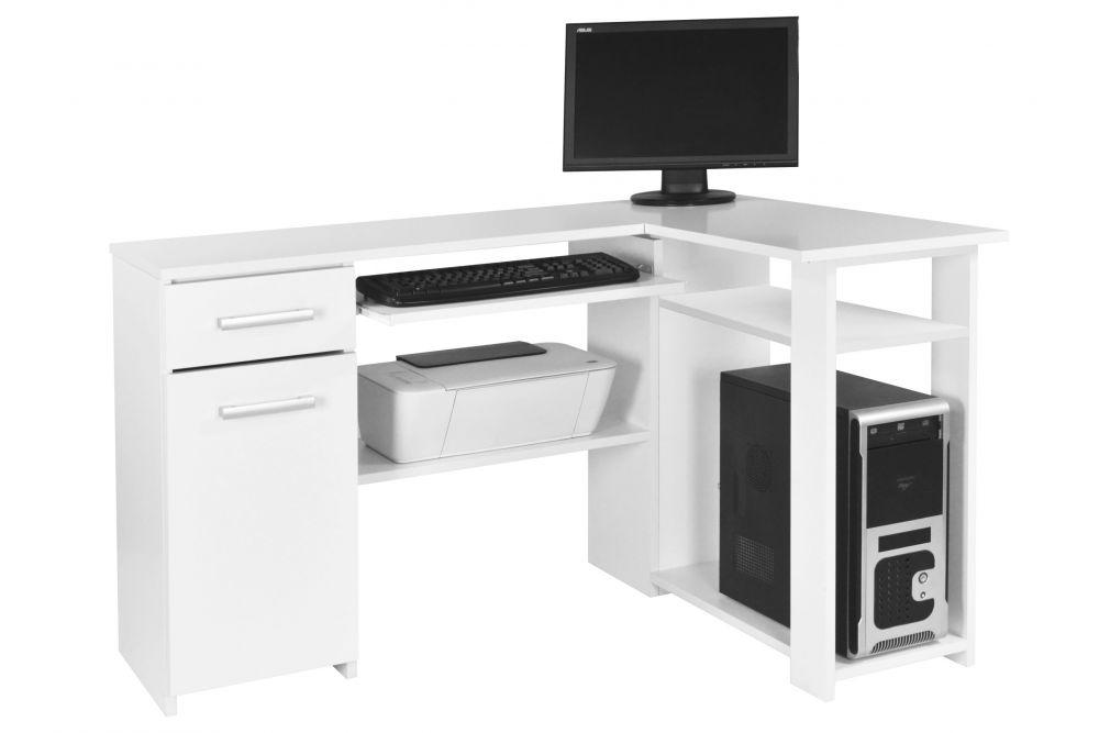 Białe biurko komputerowe narożne Łukasz