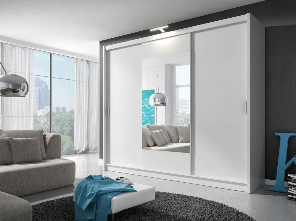 Biała szafa z drzwiami przesuwnymi Wiki 250 cm
