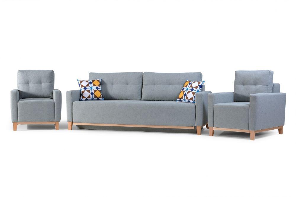 Sofa z fotelami w stylu skandynawskim