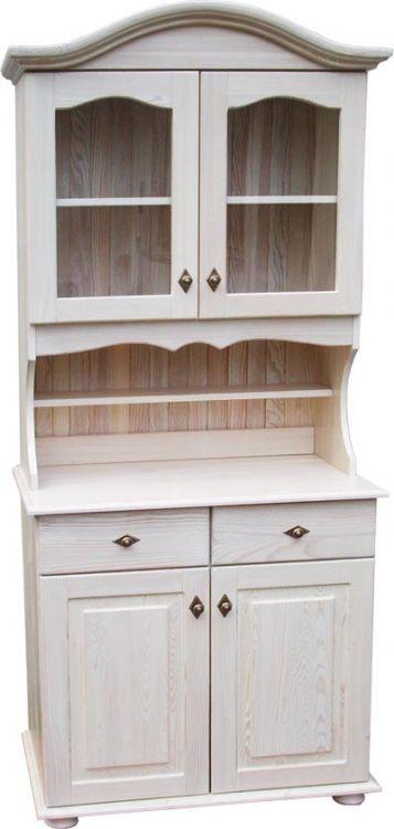 Kredens drewniany retro biała patyna