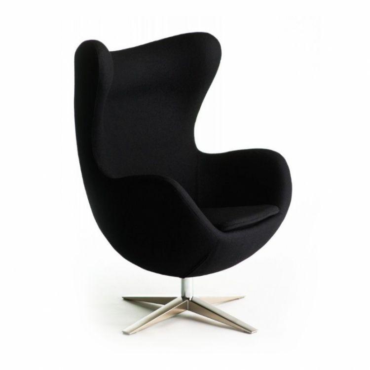 Inne rodzaje Fotel tapicerowany uszak Jajo tkanina czarna | PLMEBLE.PL NY43