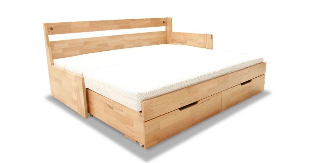 łóżko Bukowe Rozkładane Z Szufladami Duo B