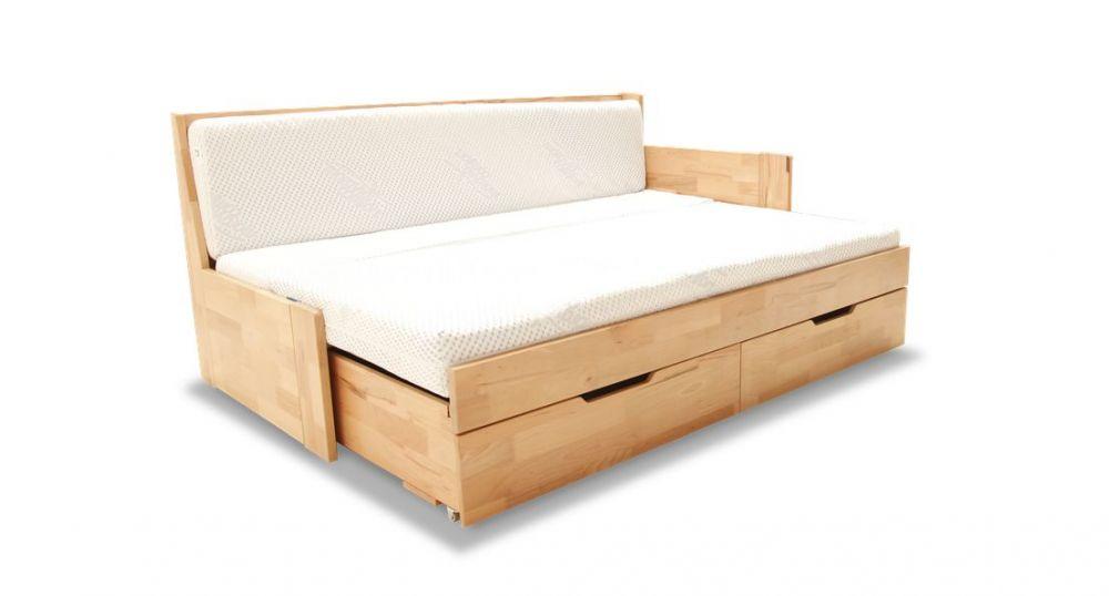 Rozkładane łóżko drewniane z bokami
