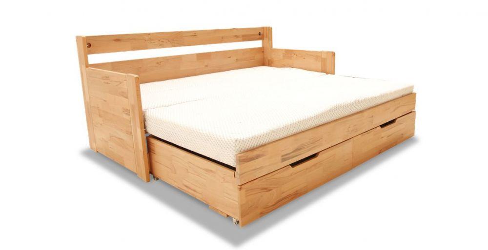 Łóżko drewniane dwuosobowe z bokami