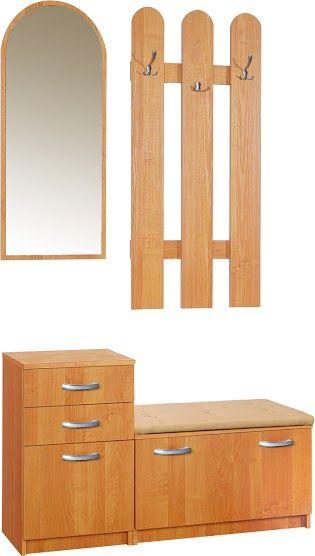Garderoba z lustrem i wieszakiem Elf 1 z siedziskiem